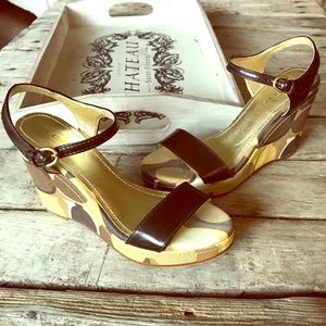 Coach wedge sandals in GUC. Size 6. Brown/yellow